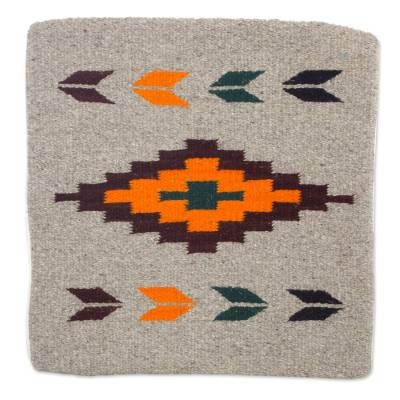 Geometric Motif Handwoven Zapotec Wool Cushion Cover