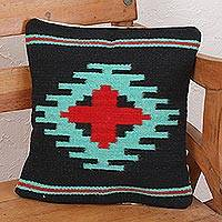 Zapotec wool cushion cover, 'Red Oaxaca Star' - Zapotec Handwoven Geometric Motif Navy Wool Cushion Cover