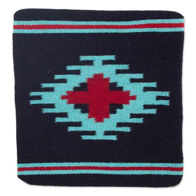 Zapotec wool cushion cover, 'Red Oaxaca Star' - Zapotec Handwoven Geometric Motif Navy Wool Cushion Cover