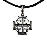Sterling silver and leather pendant necklace, 'Jerusalem Cross' - Sterling Silver Cross Necklace with a Black Leather Cord