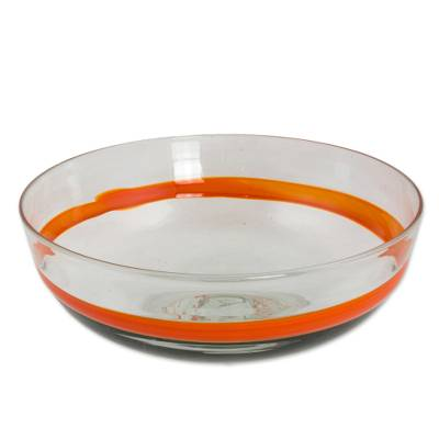 Blown glass bowl, 'Tangerine Band' - Large Hand Crafted Orange Stripe 100 oz Blown Glass Bowl