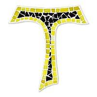 Glass mosaic cross, 'Aura of Faith' - Upcycled Glass Mosaic Tau Cross in Black and Yellow