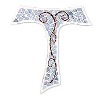 Glass mosaic cross, 'A Flourishing Faith' - Artisan Crafted Grey Glass Mosaic Tau Wall Cross
