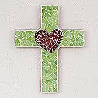 Glass mosaic cross, 'No Greater Love' - Green Glass Mosaic Cross with a Red Heart Motif