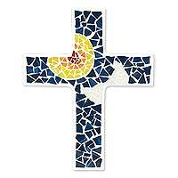 Glass mosaic cross, 'Divine Protection' - Upcycled Glass Mosaic Wall Cross with Sun and Moon