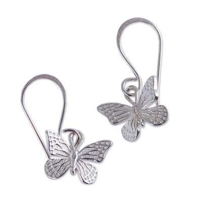 Sterling silver dangle earrings, 'Monarch Butterfly' - Fair Trade Taxco Silver Butterfly Dangle Earrings