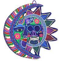 Ceramic eclipse, 'Death and Life' - Signed Ceramic Day of the Dead Moon and Sun Eclipse Wall Art