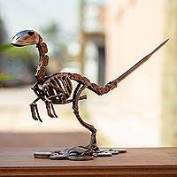 Upcycled auto part sculpture, 'Rustic Raptor' - Recycled Metal and Auto Part Raptor Dinosaur Sculpture