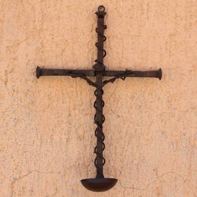 Upcycled railroad spikes wall cross, 'Ivy Crucifix' - Upcycled Railroad Spikes Wall Cross Religious Metal Art