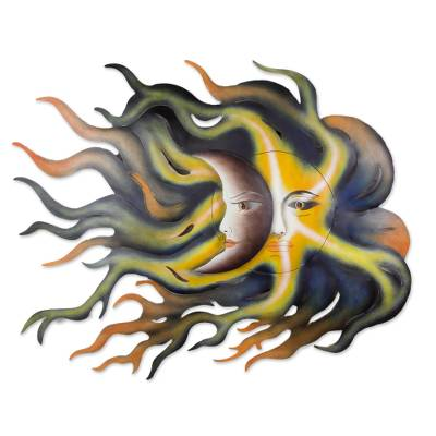 Steel wall art, 'Celestial Passion' - Handcrafted Steel Eclipse Sun and Moon Wall Sculpture