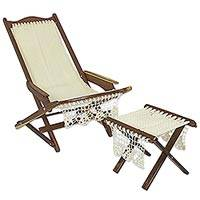 Wood and nylon chair and foot rest, 'Ivory Charm' - Artisan Crafted Wood and Nylon Chair and Foot Rest Set