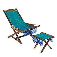 Maya hammock deck chair and footstool, 'Cancun Coast' - Blue and Green Maya Handwoven Deck Chair and Footstool Set