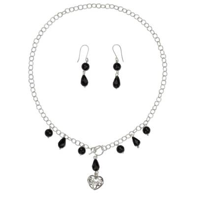 Black Agate Handcrafted Sterling Silver Heart Jewelry Set