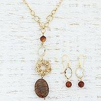 Gold plated smoky agate jewelry set, 'Golden Mandala' - 18k Gold Plated Jewelry Set with Agate and Glass Crystal