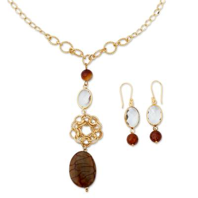 18k Gold Plated Jewelry Set with Agate and Glass Crystal