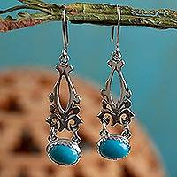 Turquoise dangle earrings, 'Lady of Morelia' - Fair Trade Sterling Silver Earrings with Natural Turquoise