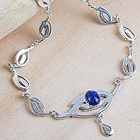 Lapis lazuli pendant necklace, 'Art Nouveau' - Lapis Lazuli and Sterling Silver Handcrafted Necklace