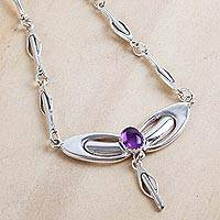 Amethyst pendant necklace, 'Mexican Art Nouveau' - Sterling Silver and Amethyst Handcrafted Necklace