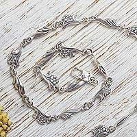 Sterling silver chain necklace, 'Petite Floral Garland' - Artisan Crafted Sterling Silver Floral Chain Necklace
