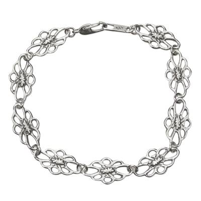 Sterling Silver Flower Silhouette Link Bracelet from Mexico