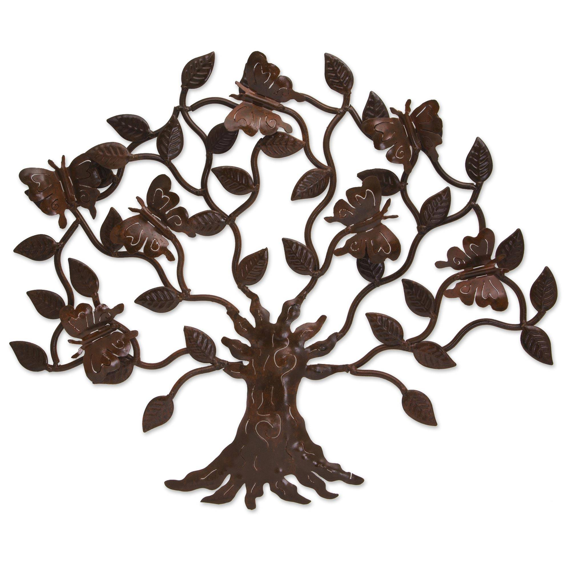 artisan crafted iron wall decor with butterfly motif butterfly tree novica