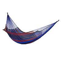 Nylon hammock, 'Triple Berry' (triple) - Handwoven Maya Hammock in Blues and Red (Triple)