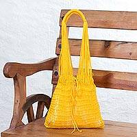 Nylon market bag, 'Cozumel Sun' - Mayan Rope Style Artisan Crafted Yellow Nylon Tote