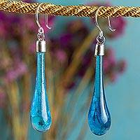 Dichroic art glass dangle earrings, 'Sweet Azure Raindrop' - Handcrafted Blue Dichroic Art Glass Earrings with Silver 925