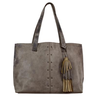 Novica Leather shoulder bag, Capacious in Dark Brown