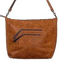 Leather shoulder bag, 'Reversible Chic' - Artisan Crafted Reversible Leather Bag in Browns