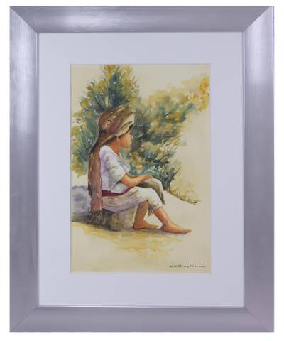 'Descanso en el Camino' - Original Watercolor Portrait of a Young Girl from Mexico