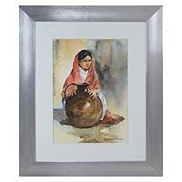 'Mujer con Rebozo Rojo' - Original Framed Watercolor Portrait of Woman from Mexico
