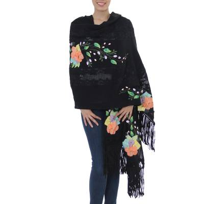 Cotton applique shawl, 'Midnight in Puebla' - Artisan Crafted Drawn Thread Lace Hand Painted Floral Shawl