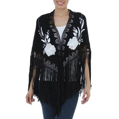 70a0b4031917 Cotton applique shawl, 'Midnight Gardenia' - Artisan Crafted Hand Painted  Signed Black Floral