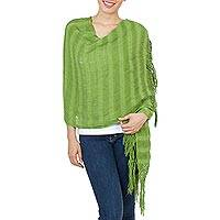 Cotton shawl, 'Forest Charm' - 100% Cotton Green Shawl with Fringe from Mexico