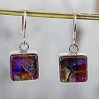 Dichroic glass dangle earrings, 'Luminous Squares' - Artisan Crafted Dichroic Glass Square Dangle Earrings