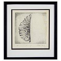 'You and I' - Black and White Framed Leaf Theme Embossed Etching Print