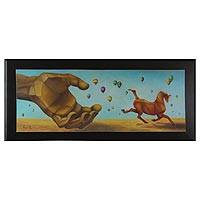 'Stampede' (2013) - Framed Surreal Oil on Canvas Painting Signed by the Artist