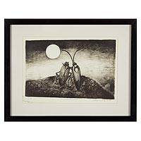 'In Love' - Framed Insect Theme Drypoint Intaglio Print from Mexico
