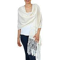Handwoven rebozo shawl, 'Glitter in Gold' - Handwoven Ivory Rebozo Shawl with Gold Accents