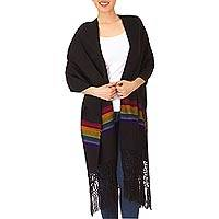 Handwoven rebozo shawl, 'Multicolor Midnight' - Black Acrylic Handwoven Rebozo Shawl with Multicolor Stripes