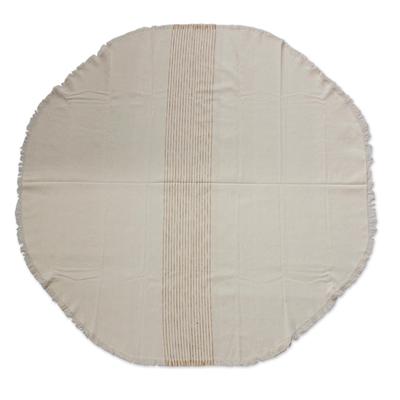 Cotton Tablecloth, U0027Golden Brown Pathsu0027   Handwoven Cream Cotton Circular  Tablecloth From Mexico