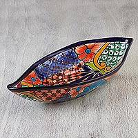 Ceramic serving dish, 'Summer in Yuriria' - Elongated 15-inch Floral Talavera-Style Serving Dish