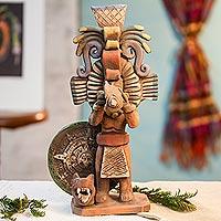 Ceramic sculpture, 'Priest of the Aztecs' - Aztec Archaeology Signed Artisan Crafted Ceramic Sculpture