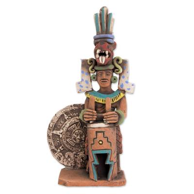 Mexico Archaeology Ceramic Aztec Drummer Sculpture