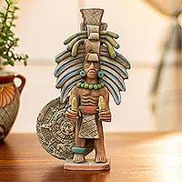 Ceramic sculpture, 'Aztec Priest of Maize' - Mexican Ceramic Replica Sculpture of an Aztec Priest