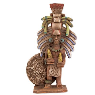 Mexican Ceramic Replica Sculpture of an Aztec Priest