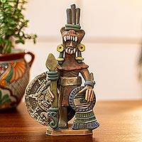 Ceramic sculpture, 'Warrior with the Sun Stone'