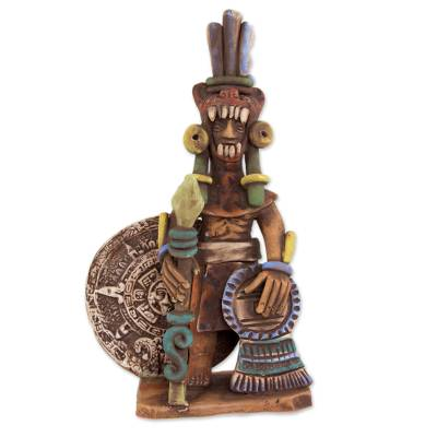 Ceramic sculpture, 'Warrior with the Sun Stone' - Ceramic Aztec Jaguar Warrior Sculpture from Mexico