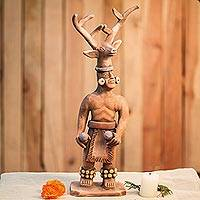 Ceramic sculpture, 'Yaqui Dance of the Deer' - Yaqui Deer Dancer Ceramic Sculpture from Mexico